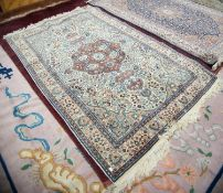 FINELY KNOTTED PAKISTAN PERSIAN PATTERN RUG with petal shaped brick red centre medallion with