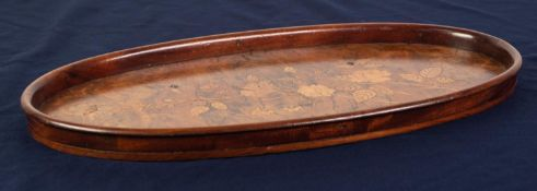 20th CENTURY MARQUETRY INLAID OVAL BURR WALNUTWOOD TRAY, the plain gallery border with turned over
