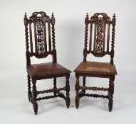 NEAR PAIR OF EARLY TWENTIETH CENTURY CAROLEAN STYLE CARVED OAK SINGLE DINING CHAIRS, each with