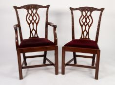 SET OF SIX (4 + 2) VICTORIAN MAHOGANY CHIPPENDALE REVIVAL DINING CHAIRS in addition to TWO