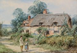 HENRY JOHN SYLVESTER STANNARD R.B.A. (1870 - 1951)PAIR OF WATERCOLOURS Figures before thatched