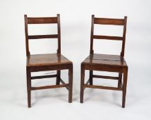 PAIR OF NINETEENTH CENTURY COUNTRY OAK AND ELM BAR BACK SINGLE DINING CHAIRS, each with moulded back