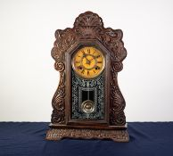 ANSONIA CLOCK CO., NEW YORK, USA, LATE 19th/EARLY 20th CENTURY SHELF CLOCK, with typical stained