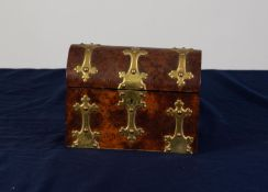 VICTORIAN GOTHIC REVIVAL BROWN OAK AND BRASS BANDED DOME TOPPED TEA CADDY, the exterior with studded