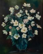 SHIELD 1953 OIL PAINTING ON CANVAS Flowers in a vase Signed and dated lower right 20in x 16in (51