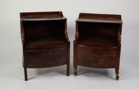 TWO SIMILAR GEORGIAN MAHOGANY BOW FRONTED BEDSIDE NIGHT COMMODES, each with short back and hinged