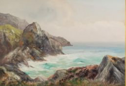 H WINGATE (early 20th Century) BODY COLOUR DRAWING Seascape off rocky coastline Signed lower left