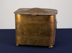 AN INTER-WAR YEARS HERMAN SMITH FABRICATION 'MASTERCRAFT' BRASS LACQUERED BRASS COAT/LOG BIN and