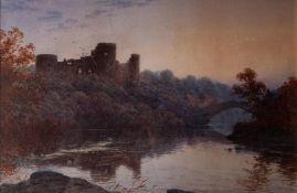 ARTHUR SHELLEY (1841-1902) WATERCOLOUR DRAWING Barnard Castle from the river at dusk Signed and