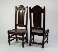 PAIR OF SEVENTEENTH CENTURY HEAVY CARVED OAK HIGH BACK SIDE CHAIRS, each with foliate carved top