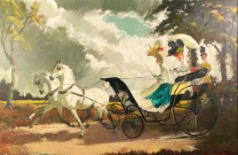 DORIS CLARE ZINKEISEN (1898 - 1991) OIL PAINTING ON CANVAS The Afternoon Drive Signed lower right