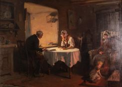 ALEXANDER ROSELL (1859 - 1922) OIL PAINTING ON CANVAS An interior with a man and woman seated at a