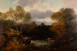 JOHN LEIGHTON (1822 - 1912) OIL PAINTING ON RE-LINED CANVAS River landscape with fishermen Signed