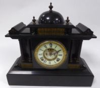 VICTORIAN BLACK SLATE MANTLE CLOCK, the 4 ½? two part Roman dial with visible brocot escapement to