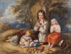 BRITISH SCHOOL (mid 19th Century) WATERCOLOUR DRAWING Young lady, two children and baby at rest in a