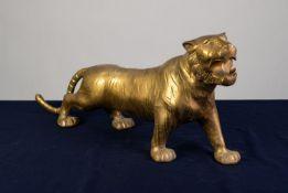 "A TWENTIETH CENTURY HOLLOW CAST BRASS MODEL PROWLING TIGER, 28"" (71cm) long"