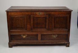 EIGHTEENTH CENTURY MAHOGANY CROSSBANDED OAK DOWER CHEST, the moulded top with raised panel to the