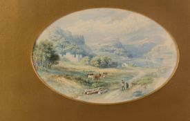 ATTRIBUTED TO MYLES BIRKET FOSTER (1825 - 1899) WATERCOLOUR DRAWING A Scottish landscape with