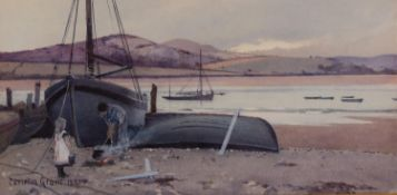 CARLETON GRANT (Exh. 1885 - 99)WATERCOLOUR DRAWING A river estuary, possibly North Wales, with