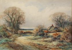 ALEXANDER MOLYNEUX STANNARD (b. 1885) WATERCOLOUR DRAWING A country lane with a figure and