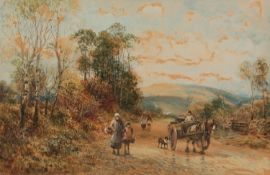WILLIAM MANNERS (1860 - 1930)WATERCOLOUR DRAWING 'Coming from Market - Levens, Westmorland' Signed