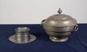 LATE 18th CENTURY/EARLY 19th CENTURY CONTINENTAL PEWTER COVERED BOWL, with swing carrying handles,