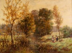 NORMAN M MACDOUGALL (1852 - 1939) OIL PAINTING ON CANVAS Landscape with figures beside a stream
