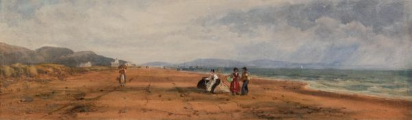 AFTER DAVID COX SENIOR (1783 - 1859) WATERCOLOUR DRAWING Beach scene with figures Bearing