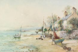 JOHN HUGHES CLAYTON (act. 1891 - 1929) WATERCOLOUR DRAWING 'Awaiting the Tide - Cemmaes Bay,