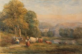 AFTER DAVID COX SENIOR (1783 - 1859) WATERCOLOUR DRAWING 'Bolton Abbey' Bearing signature lower left