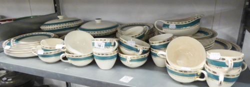 A CROWN DUCAL POTTERY DINNER AND TEA SERVICE OF APPROX 50 PIECES