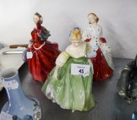 THREE ROYAL DOULTON FIGURINES, 'THE ERMINE COAT' 'FAIR LADY', AND 'BLITHE MORNING' (3)
