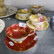 THREE PARAGON CHINA SPECIMEN CUPS AND SAUCERS AND A FOLEY SPECIMEN CUP AND SAUCER, (8)