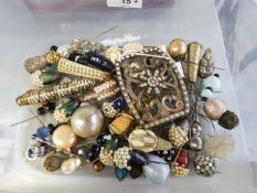 APPROX FIFTY LADIES MID TWENTIETH CENTURY ORNATE HAT PINS AND A LARGE BRONZED METAL SASH OR BELT