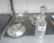 NINETEENTH CENTURY PANEL CUT GLASS WINE COOLER; A PAIR OF CUT GLASS CYLINDRICAL PERFUME BOTTLES