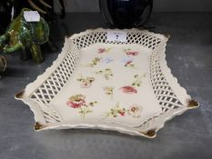 CONTINENTAL PORCELAIN OBLONG DISH WIH CANTED CORNERS, TRELLIS PIERCED SIDES, DECORATED WITH