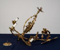 FRENCH EARLY 20th CENTURY ORMOLU FIVE LIGHT ELECTROLIER, the openwork column formed of three foliate