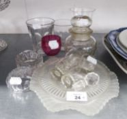 AN ANTIQUE GLASS RUMMER WITH CUSHION KNOPPED, WAISTED STEM; A SET OF FOUR OLD THUMB CUT GLASS TOTS