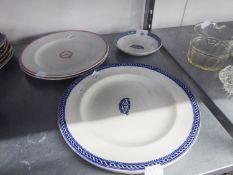 PAIR OF ?DIDSBURY PARISH CHURCH? POTTERY DINNER PLATES, blue printed with slender border, 10 ¼? (