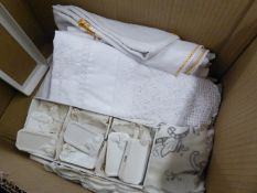 QUANTITY OF TABLE LINEN AND LACE AND SIX CHINA NAME PLATE SETTINGS