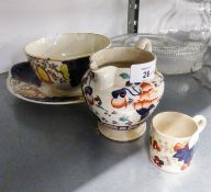 FOUR PIECES OF VICTORIAN 'GAUDY' POTTERY, DECORATED IN IMARI PALETTE, VIZ A PLAQUE, BOWL, JUG AND