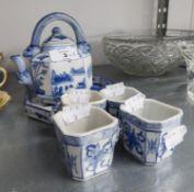 ORIENTAL BLUE AND WHITE CHINA SAKE SET, VIZ TEAPOT, 4 CUPS AND A TRAY (6)