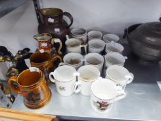 A NINETEENTH CENTURY FENTON STONEWARE JUG (A.F.), ALARGE BROWN STONEWARE JUG AND A SELECTION OF '