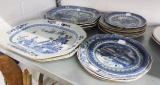 *A GOOD SELECTION OF BLUE AND WHITE PLATES, TO INCLUDE; 5 MEAT PLATES AND 10 RACK PLATES (15)
