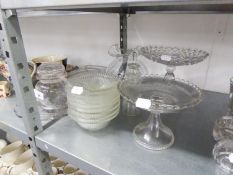 19TH CENTURY STUDIO GLASS FLUTED OVULAR VASE, 5 ¼? HIGH; TWO VICTORIAN MOULDED GLASS TALL PEDESTAL