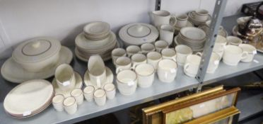 AN EXTENSIVE POOLE POTTERY DINNER AND TEA SERVICE AND A CHURCHILL TEA SERVICE (APPROX 85 PIECES)