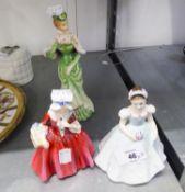 TWO SMALL ROYAL DOULTON FIGURINES, 'BRIDESMAID', 'LAVINA' AND A 'PASTAREL' FIGURINE (3)