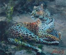 ROLF HARRIS (b.1930) ARTIST SIGNED LIMITED EDITION COLOUR PRINT ON PAPER ?Leopard Reclining at