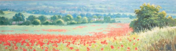 JAMES D. PRESTON (b.1946) OIL ON CANVAS ?View of a Poppy Field? Signed 12? x 40? (30.5cm x 101.