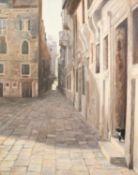 ANGUS HAMPELL (MODERN) OIL ON CANVAS Shade and Light, Venetian street scene Very faintly signed